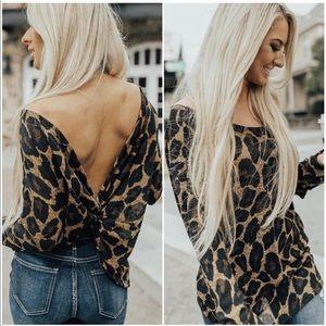 LAST ONE! Leopard Print Twist Back Top